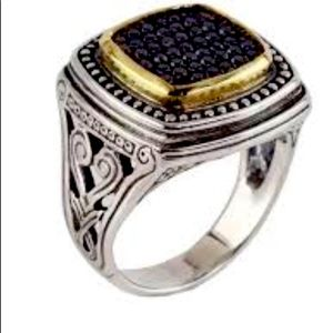 Konstantino Asteri Square Pave Black Diamond Ring